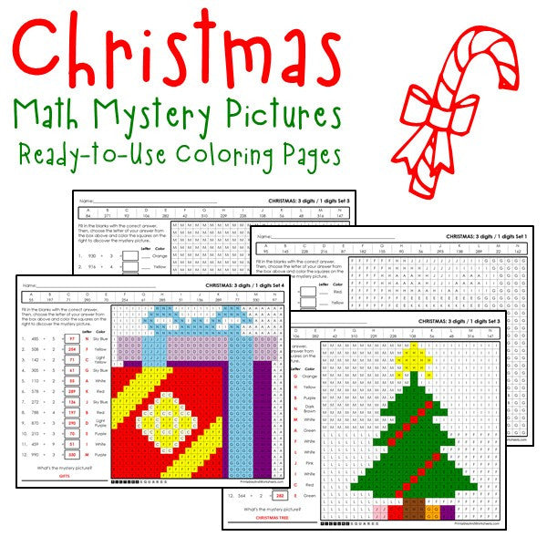 christmas division coloring worksheets
