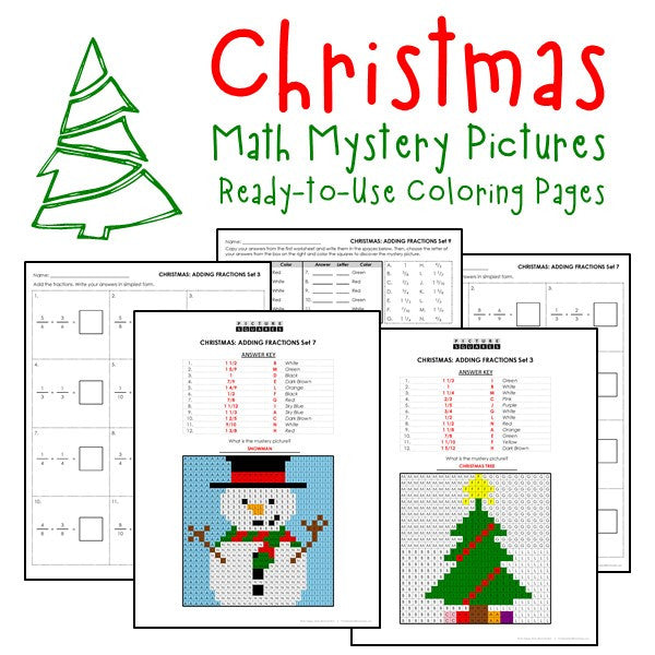 Christmas Coloring Worksheets - Fractions