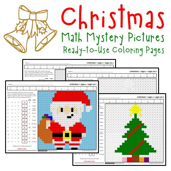 christmas multiplication coloring worksheets printables worksheets. Black Bedroom Furniture Sets. Home Design Ideas