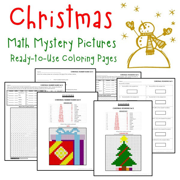 Christmas Place Value Coloring Worksheets Printables