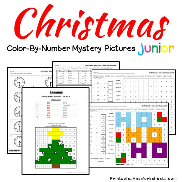 Christmas Math Color By Number Printables Amp Worksheets