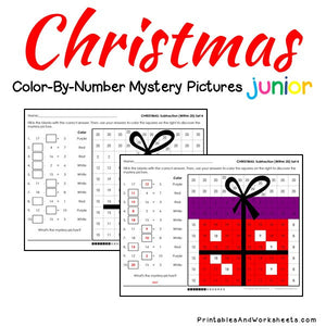 Christmas Color-By-Number: Subtraction