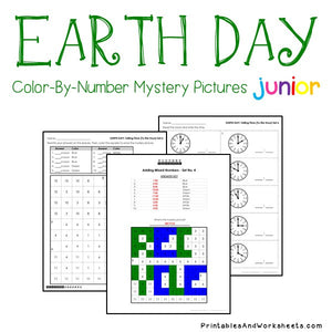 Earth Day Color-By-Number: Telling Time