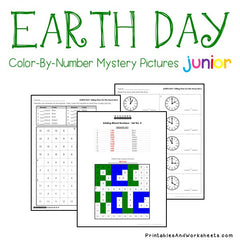Earth Day Telling Time Color-By-Number