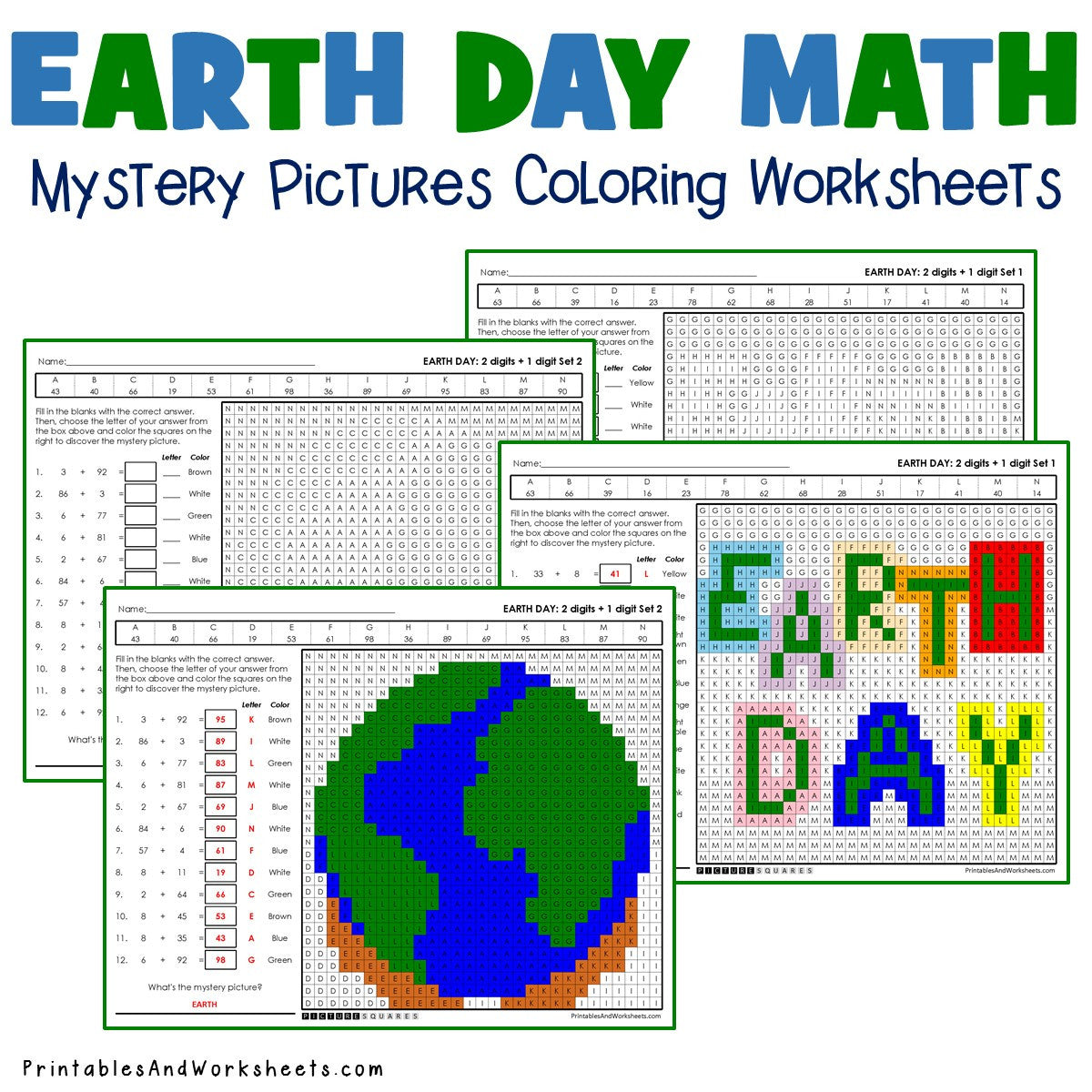 Earth Day Coloring Worksheets - Addition
