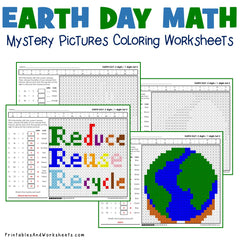 Earth Day Division Coloring Worksheets