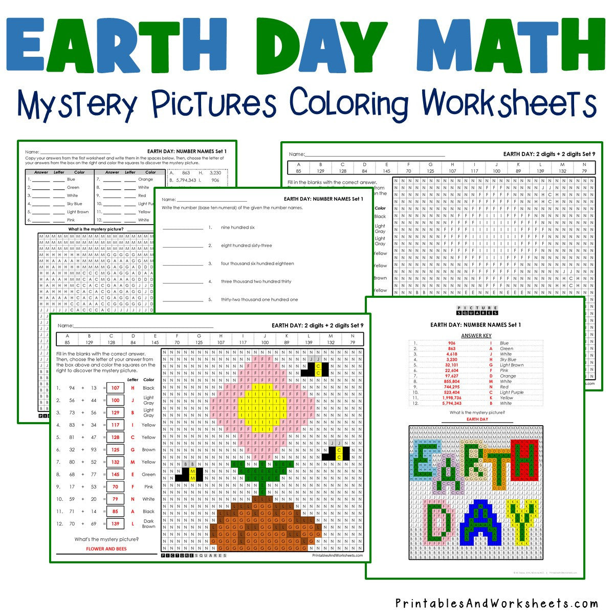 Earth Day Coloring Worksheets - Math