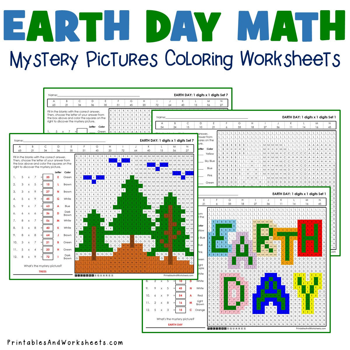 Earth Day Coloring Worksheets Multiplication