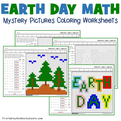 Earth Day Multiplication Coloring Worksheets