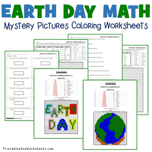 Earth Day Coloring Worksheets - Place Value