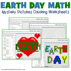 Earth Day Coloring Worksheets - Subtraction