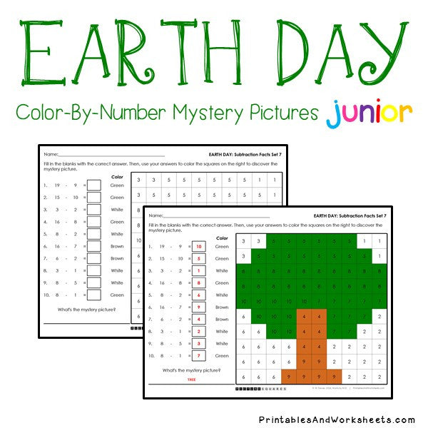 Earth Day Color-By-Number: Subtraction