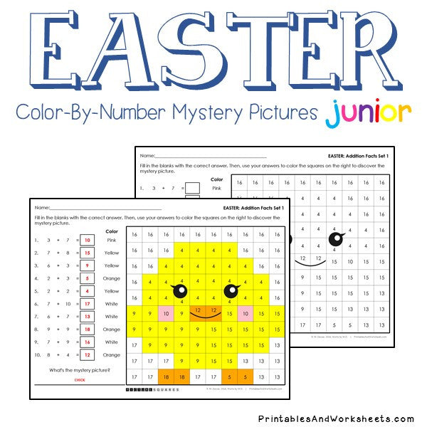 easter addition facts color by number printables worksheets. Black Bedroom Furniture Sets. Home Design Ideas