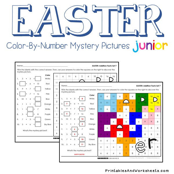 Easter Color-By-Number: Addition
