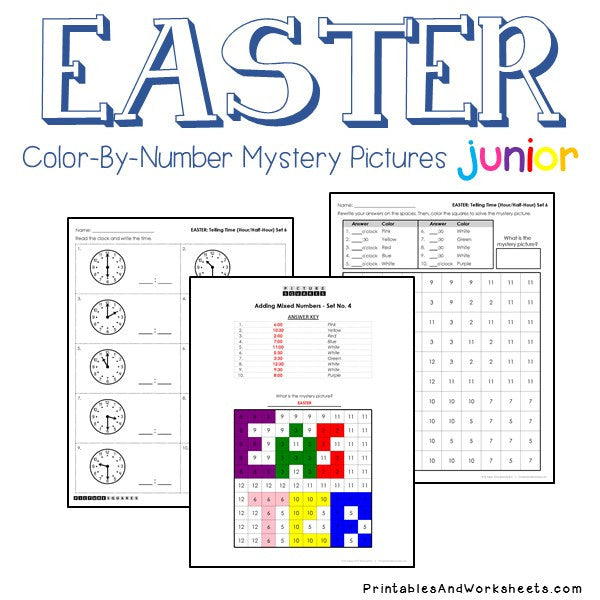 Easter Color-By-Number: Telling Time