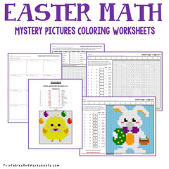 Easter Math  Coloring Worksheets Bundle