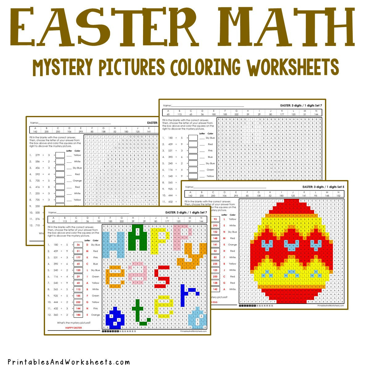 Easter Coloring Worksheets - Division