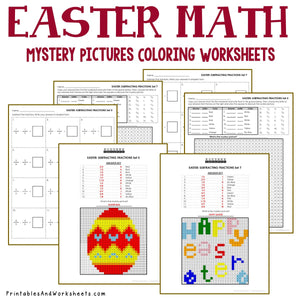 Easter Coloring Worksheets - Adding, Subtracting, Multiplying, Dividing Fractions