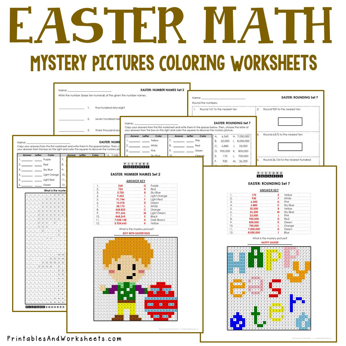 Easter Coloring Worksheets -  Place Value, Expanded Form, Number Names, Rounding