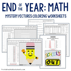 End of the Year Math Coloring Worksheets Bundle