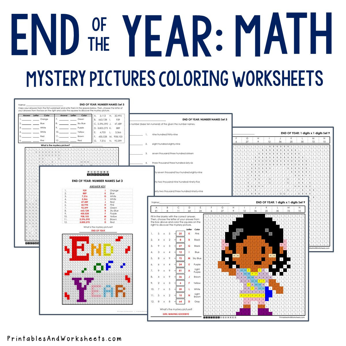 End of the Year Coloring Worksheets - Math