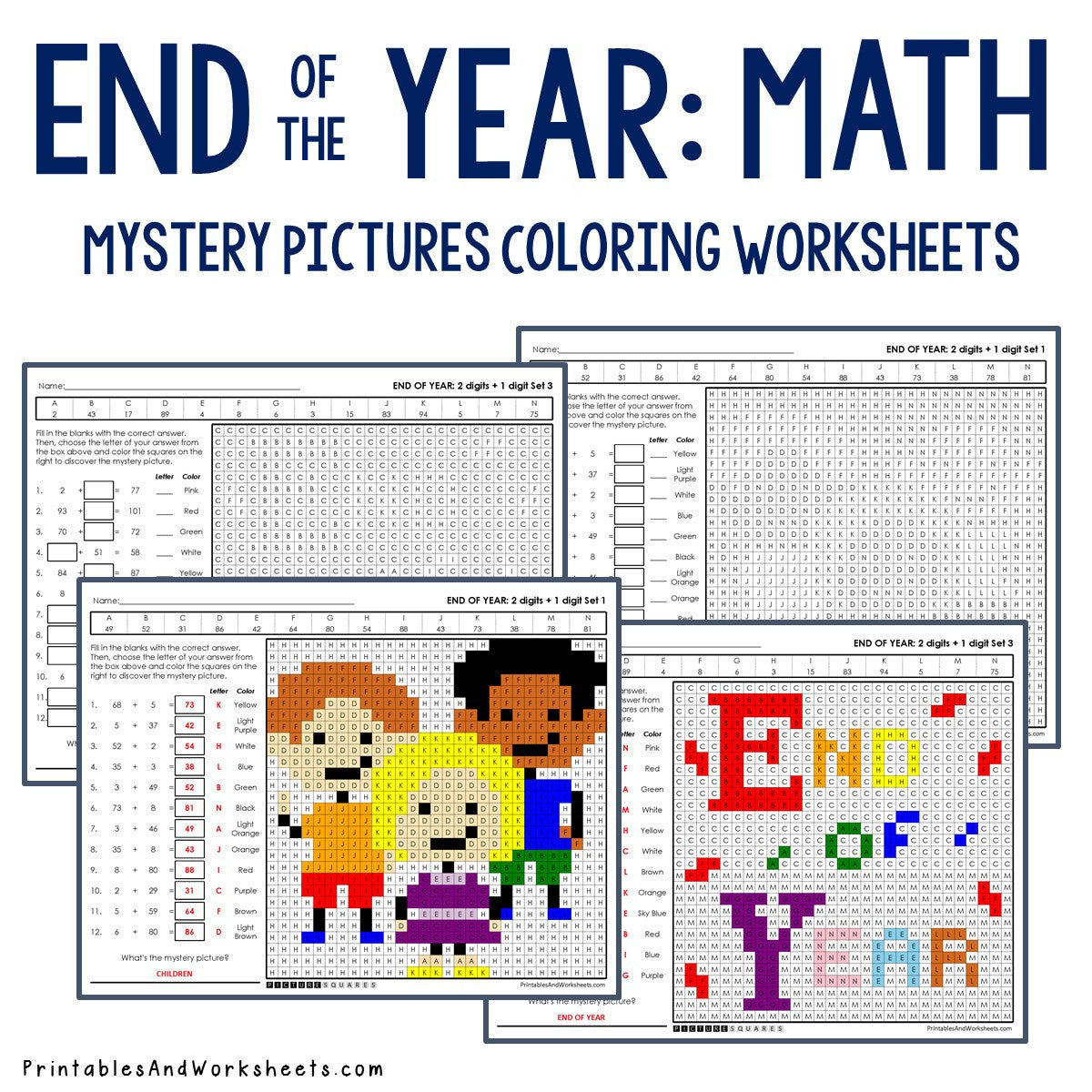 End of the Year Coloring Worksheets - Addition