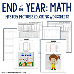End of the Year Decimals Coloring Worksheets