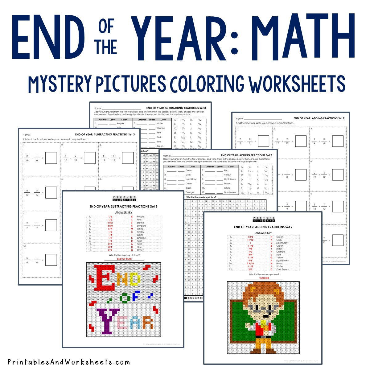 End of the Year Coloring Worksheets - Fractions