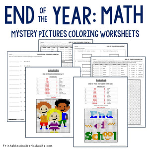 End of the Year Coloring Worksheets - Place Value