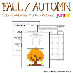 Fall / Autumn Color-By-Number - Counting, Greater Than Less Than
