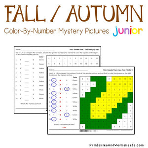Fall/Autumn Color-By-Number: Counting to 20, Greater Than/Less Than