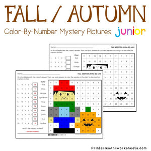 Fall/Autumn Math Color-By-Number