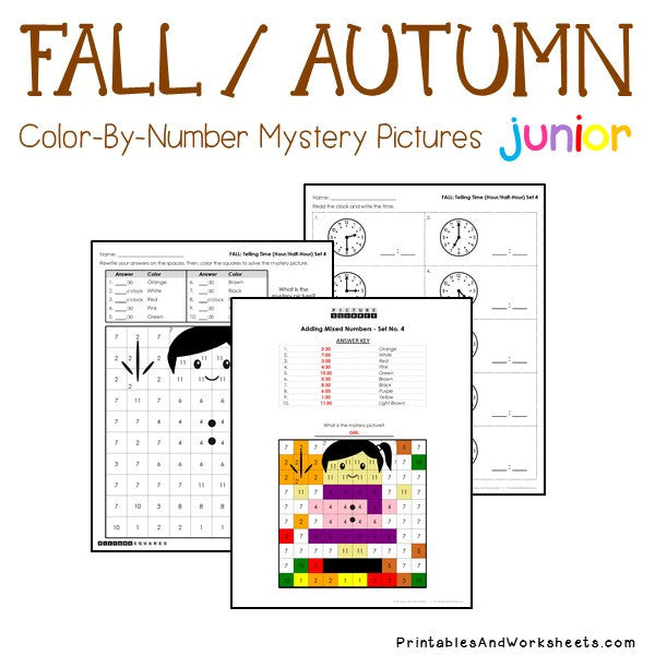 Fall/Autumn Color-By-Number: Telling Time