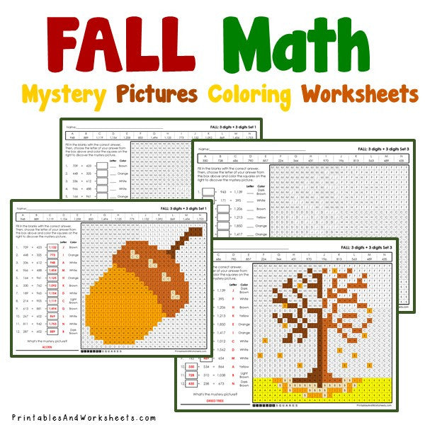 Fall/Autumn Coloring Worksheets - Addition