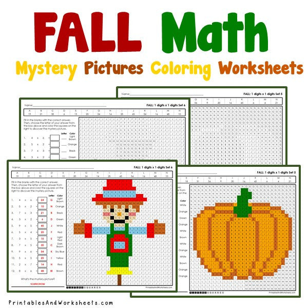 Fall/Autumn Coloring Worksheets - Multiplication