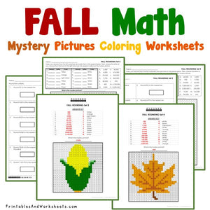 Fall/Autumn Coloring Worksheets - Place Value