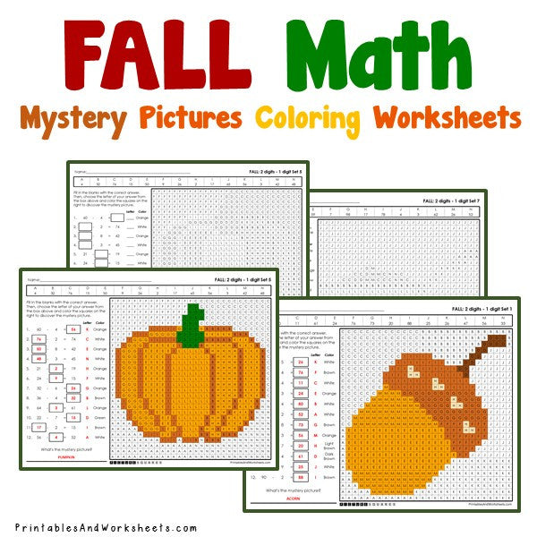 Fall/Autumn Coloring Worksheets - Subtraction