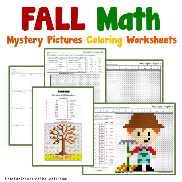 FallAutumn Math Coloring Worksheets Bundle Printables and Worksheets – Autumn Math Worksheets