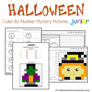 Halloween Math Color-By-Number