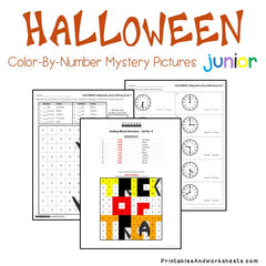 Halloween Telling Time Color-By-Number