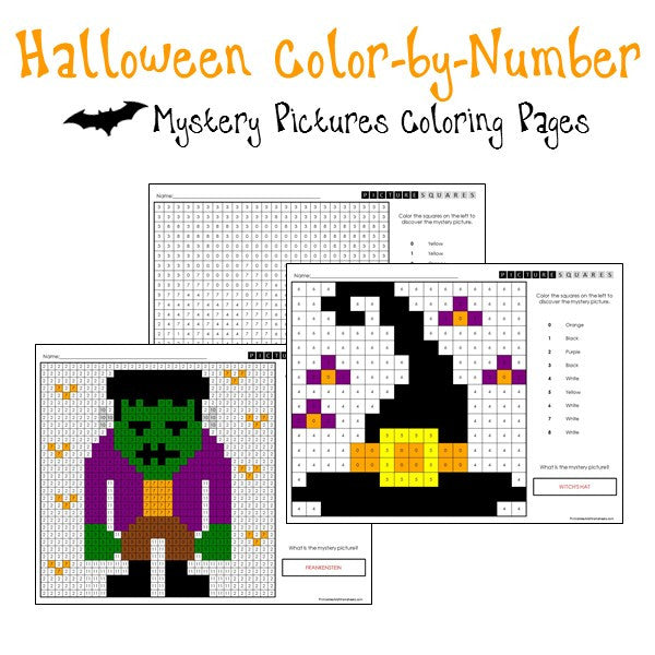 Halloween Coloring Pages (Color-By-Number)