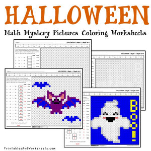 Halloween Coloring Worksheets - Addition