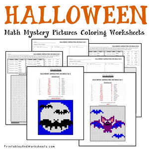 Halloween Coloring Worksheets - Decimals