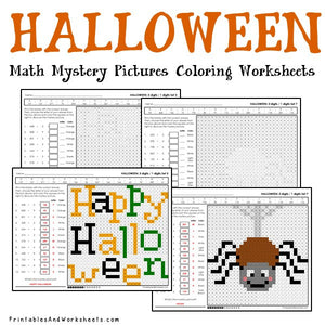 Halloween Coloring Worksheets - Division
