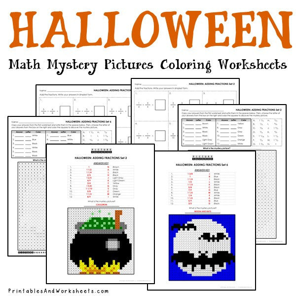 Halloween Coloring Worksheets - Fractions