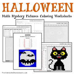 Halloween Math Mystery Pictures Coloring Worksheets Bundle