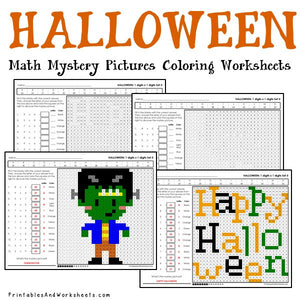 Halloween Mystery Pictures Coloring Worksheets - Multiplication