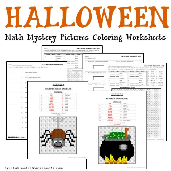 halloween place value mystery pictures coloring worksheets printables worksheets. Black Bedroom Furniture Sets. Home Design Ideas