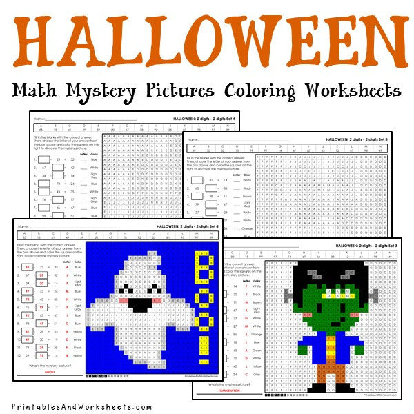 Halloween Mystery Picture Coloring Worksheets - Subtraction