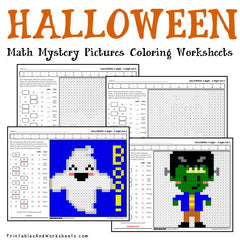 Halloween Subtraction Mystery Pictures Coloring Worksheets